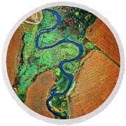 Round Beach Towel featuring the photograph Aerial Farm Wet Lands Stream  by Tom Jelen