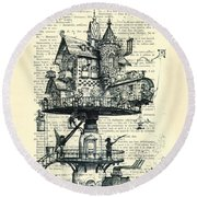 Aerial House Black And White Antique Illustration Round Beach Towel