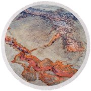 aerial landscape abstract of Colorado foothills Round Beach Towel