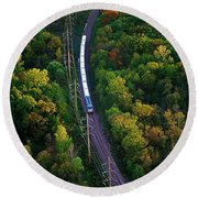 Aerial Of  Commuter Train  Round Beach Towel