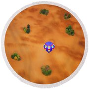 Aerial Of Hot Air Balloon Above Tilled Field Fall Round Beach Towel