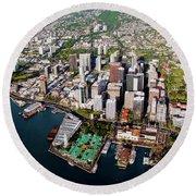 Aerial Panorama - Downtown - City Of Honolulu, Oahu, Hawaii  Round Beach Towel