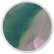 Round Beach Towel featuring the photograph Aerial Photo Of Noosa River In Detail by Keiran Lusk