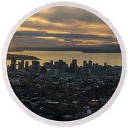 Aerial Seattle Skyline Panorama Looking West Round Beach Towel