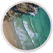 Aerial Shot Of Honeymoon Bay On Moreton Island Round Beach Towel