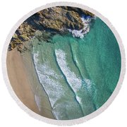 Aerial Shot Of Honeymoon Bay On Moreton Island Round Beach Towel