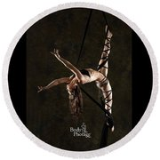 Aerial Splits With Black Silks Round Beach Towel