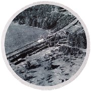 Aerial Train Wreck Round Beach Towel
