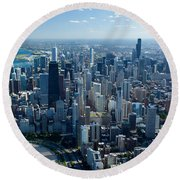 Aerial View Of A City, Lake Michigan Round Beach Towel by Panoramic Images
