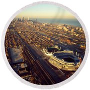 Aerial View Of A City, Old Comiskey Round Beach Towel by Panoramic Images