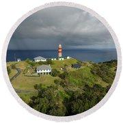 Aerial View Of Cape Moreton Lighthouse Precinct Round Beach Towel