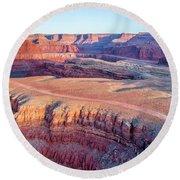 aerial view of Colorado RIver canyon Round Beach Towel