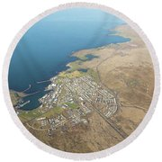 Aerial View Of Iceland South Coast  Round Beach Towel