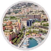 Aerial View Of Monaco Round Beach Towel