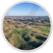 aerial view of Nebraska Sand Hills  Round Beach Towel