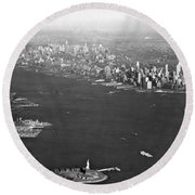 Aerial View Of New York City Round Beach Towel
