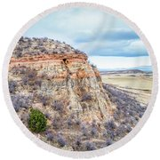 aerial view of northern Colorado foothills  Round Beach Towel