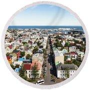Aerial View Of Reykjavik In Iceland Round Beach Towel