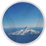 Aerial View Of Snowy Mountain Round Beach Towel