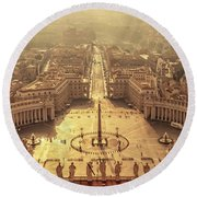 Aerial View Of St Peter's Square Round Beach Towel