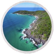 Round Beach Towel featuring the photograph Aerial View Of The Coastline In Noosa National Park by Keiran Lusk