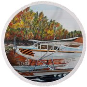 Round Beach Towel featuring the painting Aeronca Super Chief 0290 by Marilyn  McNish