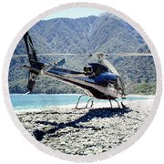 Aerospatiale Ecureuil 350, New Zealand Round Beach Towel by Wernher Krutein