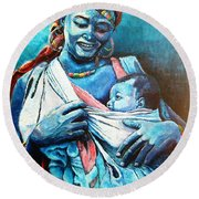 Affection Round Beach Towel by Bankole Abe