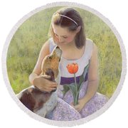 Round Beach Towel featuring the painting Affection by Nancy Lee Moran