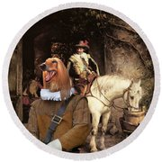 Afghan Hound-at The Tavern Canvas Fine Art Print Round Beach Towel