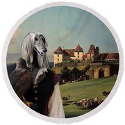 Afghan Hound-falconer And Castle Canvas Fine Art Print Round Beach Towel