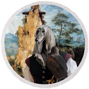 Afghan Hound-falconer And Windmill Canvas Fine Art Print Round Beach Towel