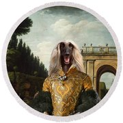 Afghan Hound-the Afternoon Promenade In Rome  Canvas Fine Art Print Round Beach Towel