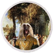 Afghan Hound-the Winch Canvas Fine Art Print Round Beach Towel