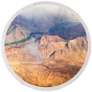 Afghan Valley At Sunrise Round Beach Towel