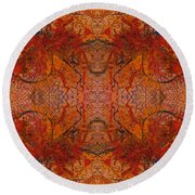 Aflame With Flower Quad Hotwaxed Version Of Acrylic/watercolour Round Beach Towel