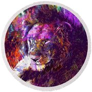 Round Beach Towel featuring the digital art Africa Safari Tanzania Bush Mammal  by PixBreak Art