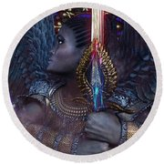 African Angel 6 Round Beach Towel by Suzanne Silvir