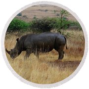 African Animals On Safari - One Very Rare White Rhinoceros Right Angle With Background Round Beach Towel