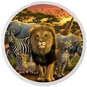 African Beasts Round Beach Towel