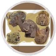 African Big Five Round Beach Towel