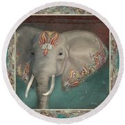 Round Beach Towel featuring the painting African Bull Elephant - Kashmir Paisley Tribal Pattern Safari Home Decor by Audrey Jeanne Roberts