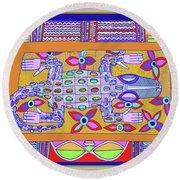 Round Beach Towel featuring the digital art African Croc Beach Bum by Vagabond Folk Art - Virginia Vivier