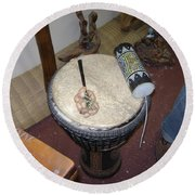 African Drum Round Beach Towel