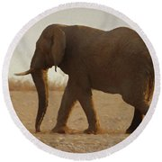 African Elephant Walk Round Beach Towel by Ernie Echols