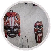 African Face Masks Round Beach Towel