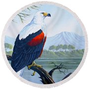 Round Beach Towel featuring the painting African Fish Eagle by Anthony Mwangi
