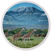 African Giants At Mount Kilimanjaro, Original Oil Painting 48x60 In On Gallery Canvas Round Beach Towel by Manuel Lopez