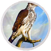 African Hawk Eagle Round Beach Towel by Anthony Mwangi