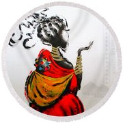 African Lady And Baby Round Beach Towel